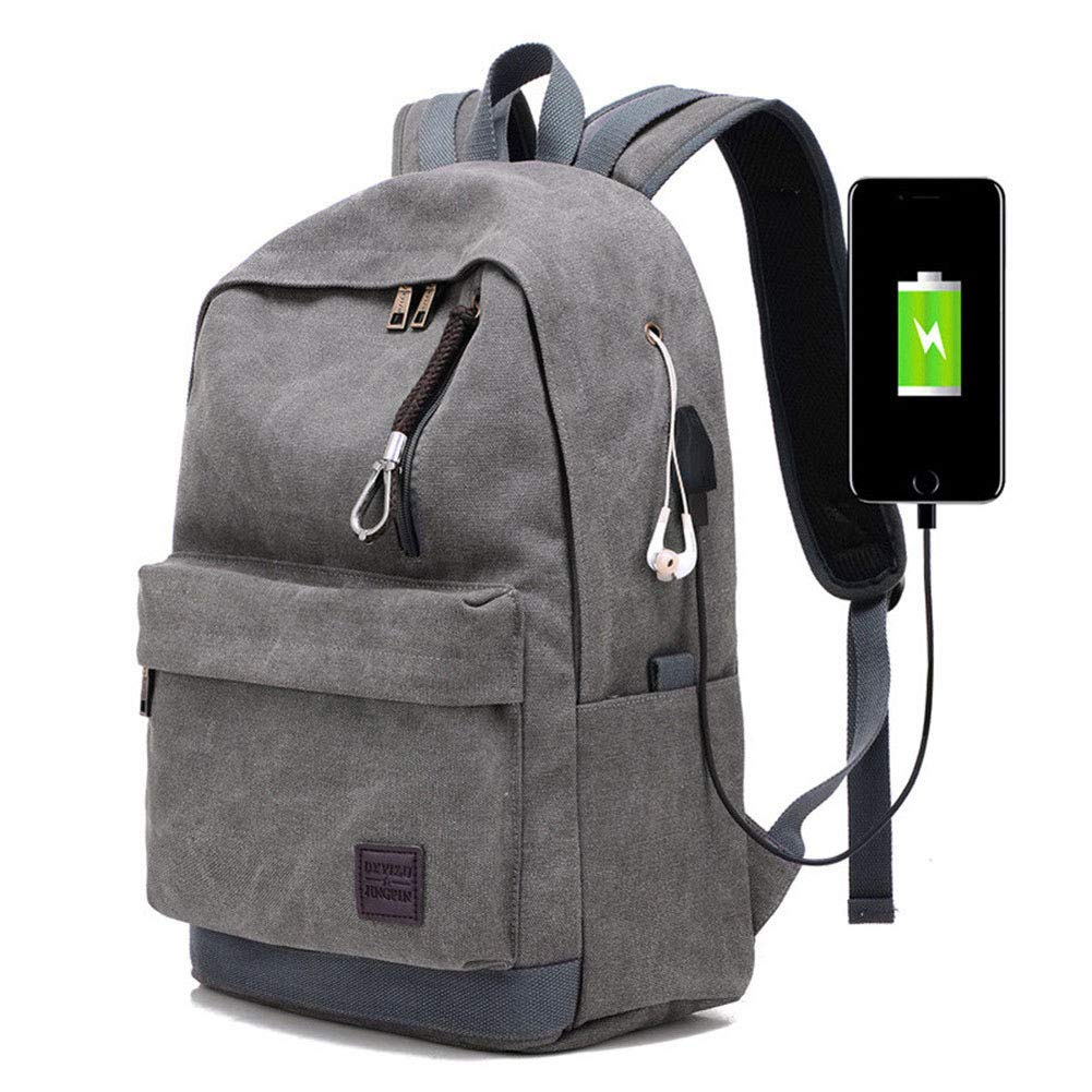Orz.orange Men Business Laptop Backpack College Student Travel Work School Bags Casual Daypacks With USB Charger Port (Gray, One_Size)
