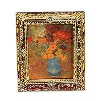 Hilai Golden Plastic Frame Flower oil painting 1: 12mobili casa delle bambole in miniatura