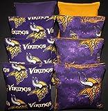 8 CORNHOLE BEAN BAGS made w MINNESOTA VIKINGS fabric Toss Game Handmade NEW!