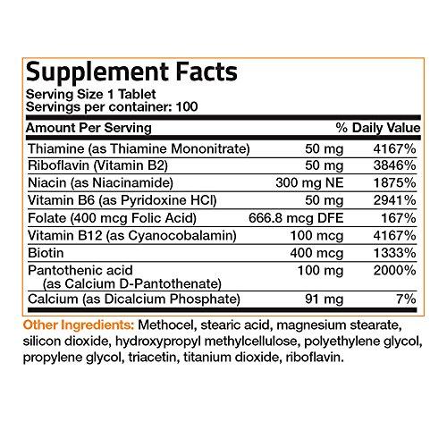 Bronson Labs: Super Vitamin B Complex Sustained Slow Release (Vitamin B2, B3, B6, B9 Folic Acid, B12)