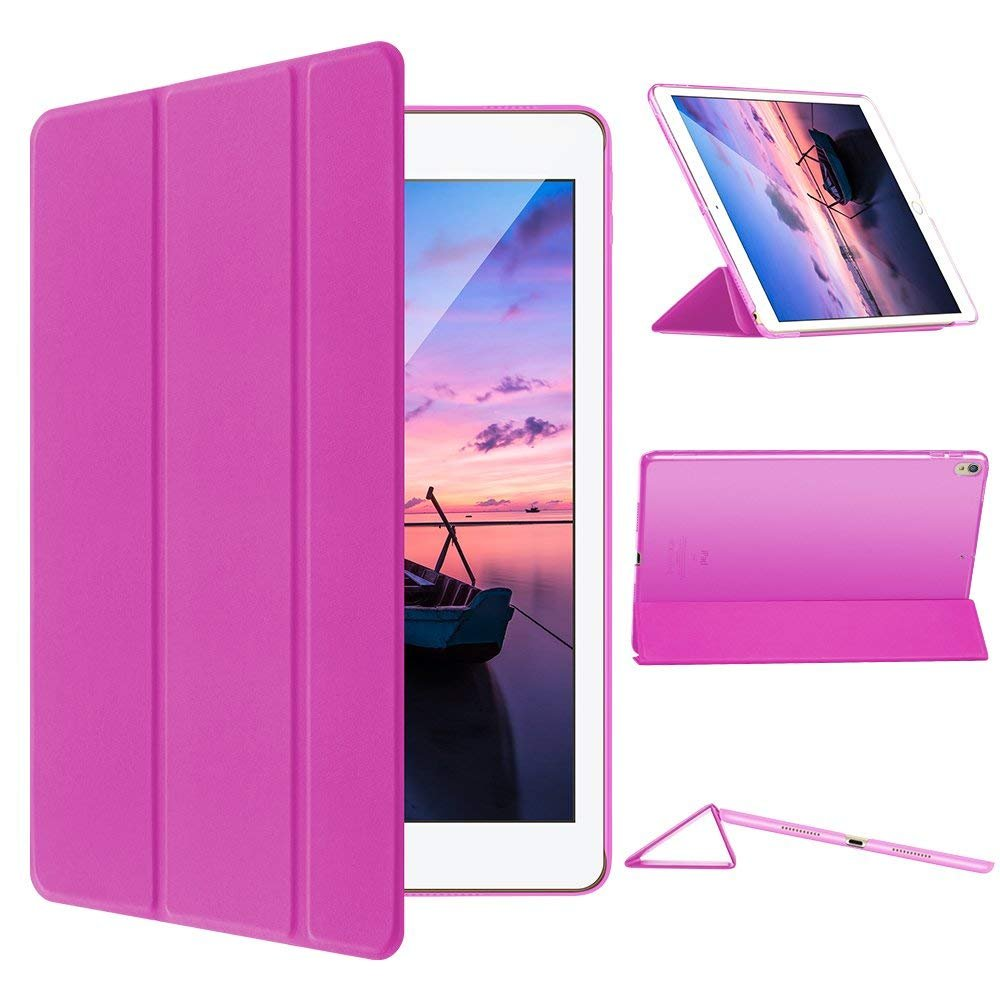 CAM-ULATA Compatible with iPad Pro 10.5 Case 2017 Leather with Folio Stand, Shock Proof Slim Business Auto Sleep Wake Smart iPad Pro 10.5 inch Back Cover Pink