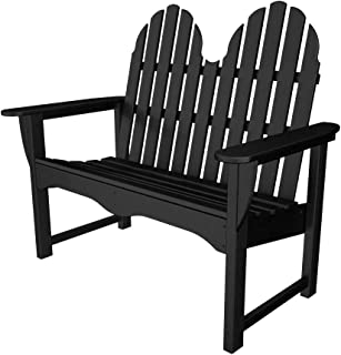 "product image for POLYWOOD ADBN-1BL Classic Adirondack 48"" Bench, Black"