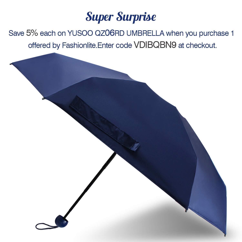 YUSOO Mini Travel Sun&Rain Umbrella,Light Compact Parasol with 95% UV Protection for Men Women,Navy Blue