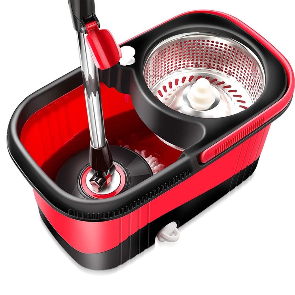 LPKH 回転モップ - 360°自動回転モップバケツと2つの洗えるマイクロファイバーモップヘッド(バケツ:9x9.4x17.3in) (色 : 赤) B07JYXBGZN 赤
