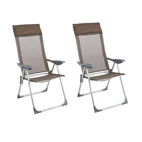 PEGANE - Lote de 2 sillas Plegables de Color Topo con 5 ...