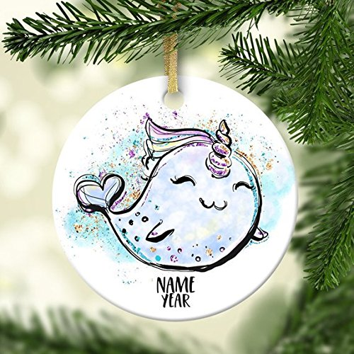 88BoydBertha Narwhal Ornament Personalized Ornament Ceramic Porcelain Holiday Ornament Christmas Name Year Custom Ornament Whale Sea