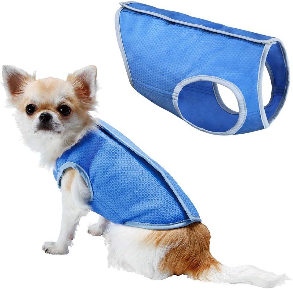 LotFancy Dog Cooling Vest Swamp Cooler Dog Jacket Coat for Puppy Dog Cats Kittens Pets, Blue