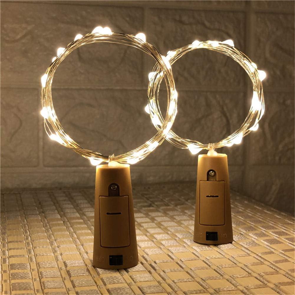 Luz de Botella Botellas de Vino Luces Alambre de Cobre Plástico de la PC Decoración de la Mesa Fiesta de Navidad 20 lámpara de 2 m Lámpara de Corcho*2
