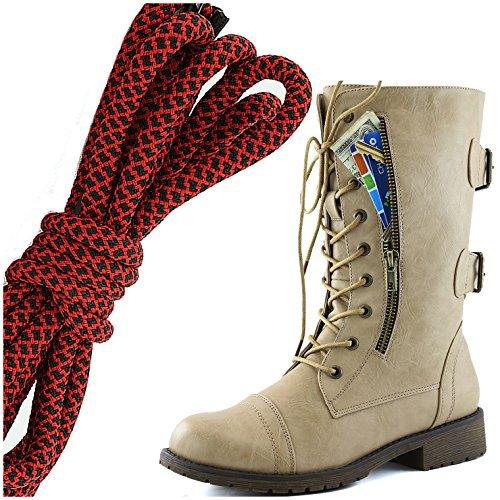 DailyZapatos Mujeres Military Lace Up Buckle Combat Botas Mid Knee High Exclusivo Bolsillo De La Tarjeta De Crédito, Rojo Negro Coqueto Beige
