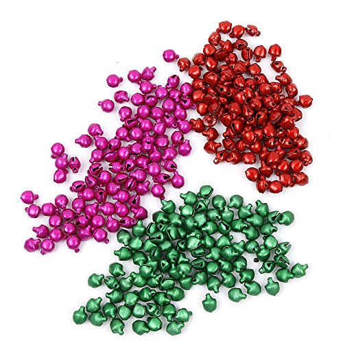 - NAOAO 300pcs Colored Jingle Bells Mini for Christmas Decoration, Craft Beading Supplies, Red/Green/Rose Red