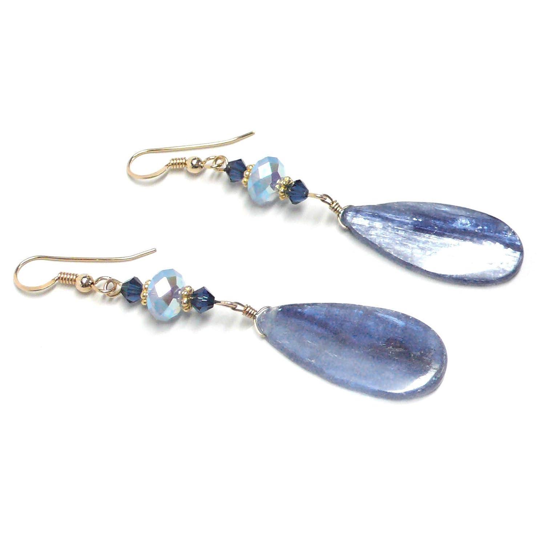 Ice Blue Kyanite Flat Teardrop Earrings Sterling Silver or Gold-Filled