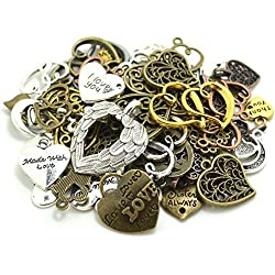 100 Gram (60-70pcs) Mixed Metal Alloys Heart-shaped Pendant Charms Bracelet Necklace DIY Jewelry MakingAccessory