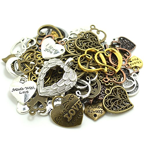 Scrapbooking Charms - 100 Gram (60-70pcs) Mixed Metal Alloys Heart-shaped Pendant Charms Bracelet Necklace DIY Jewelry MakingAccessory