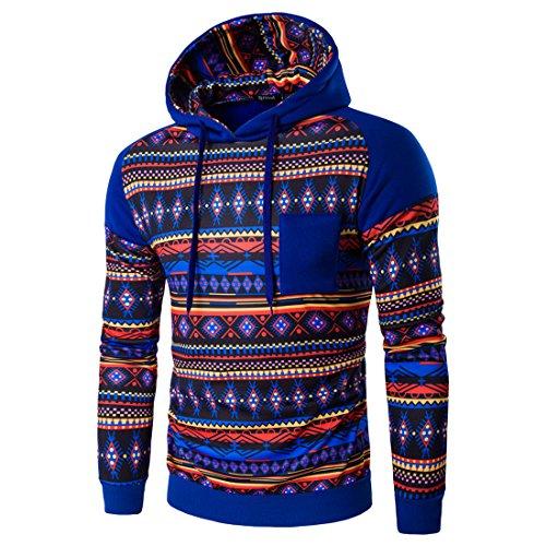 Film Strip Long Sleeve Shirt (Mada Men's Ethnic Print Pullover Hoodies Slim Casual Hooded Sweaters Asian Large Royal Blue)