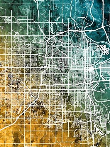 Imagekind Wall Art Print Entitled Omaha Nebraska City Map by Michael Tompsett | 11 x 15 ()