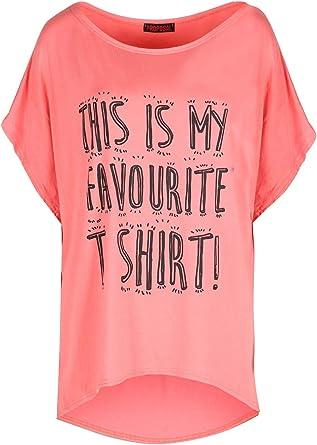 Fashion Star - Camiseta de manga larga para mujer, diseño de Nueva York 98 Lagenlook Batwing Naranja Coral favorito 36-38: Amazon.es: Ropa y accesorios