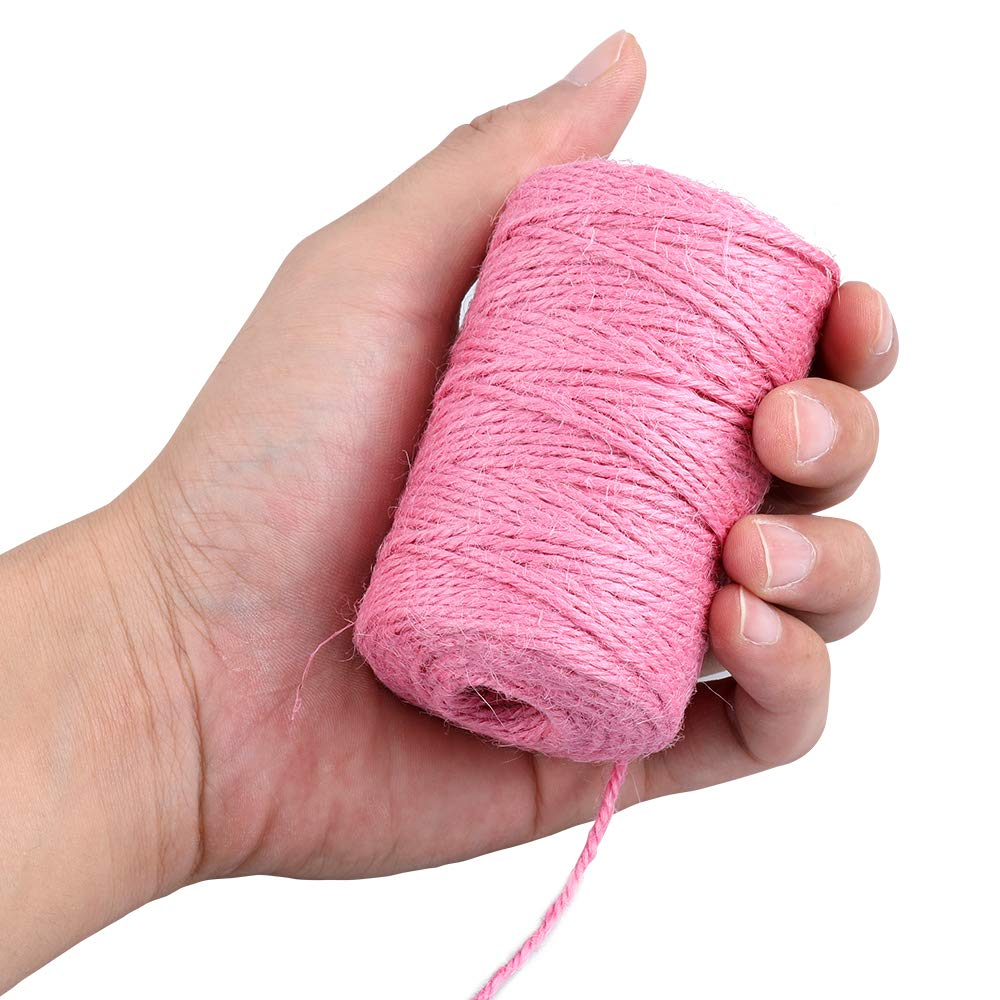 Cuerda de yute rosa paquete de regalo y aplicaciones de jardiner/ía cuerda de yute de 328 pies cuerda de yute de 2 mm de grosor para manualidades y manualidades