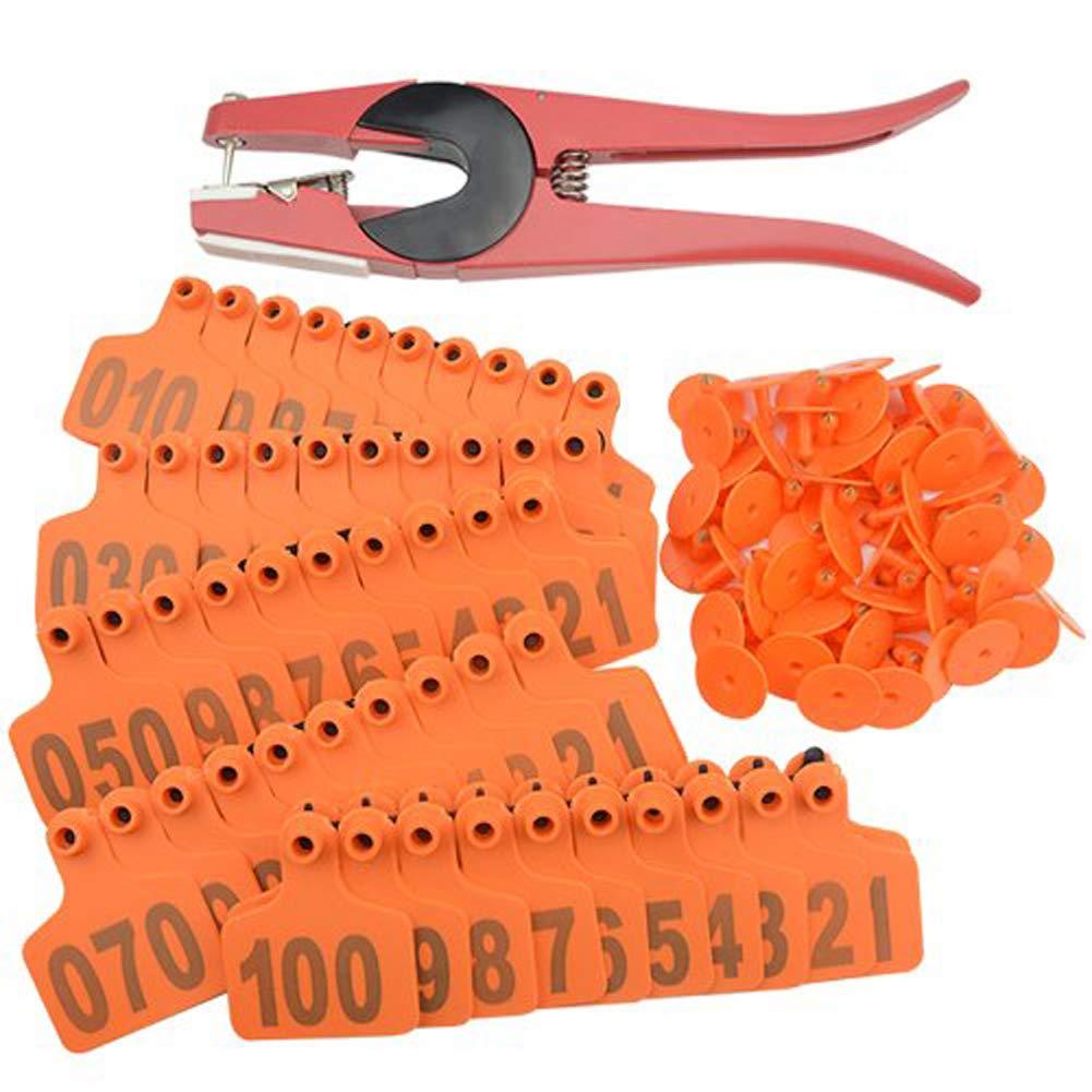 orange 100pcs orange 100pcs Livestock Ear Tags 1-100 Number Cow Tag and Ear Tag Applicator,orange,100pcs