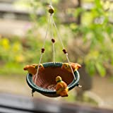 ExclusiveLane Terracotta Handpainted Bird Feeder - Backyard Bird Feeder Hanging for Balcony Décor Outdoor Garden Decoration