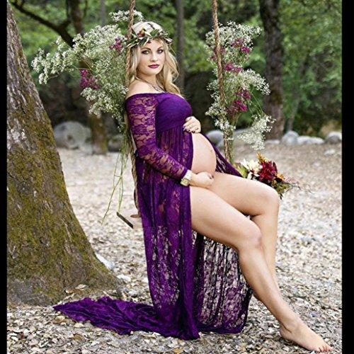 Shoot Dress Fotográficas Foto Split Accesorios Púrpura de Cinnamou Fotografía Vestido de Maternidad de Faldas Mujeres de Embarazadas Maternidad Vista Delantera x6O6zwn7a