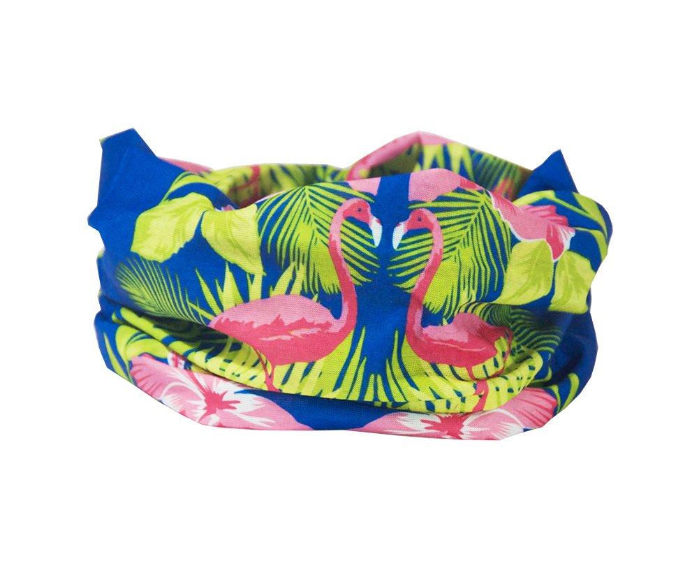 RUFFNEK Tropical Flamingo. Diadema y calentador de cuello. Multifunción, bufanda o cintillo. Talla única para las mujeres y los niños.