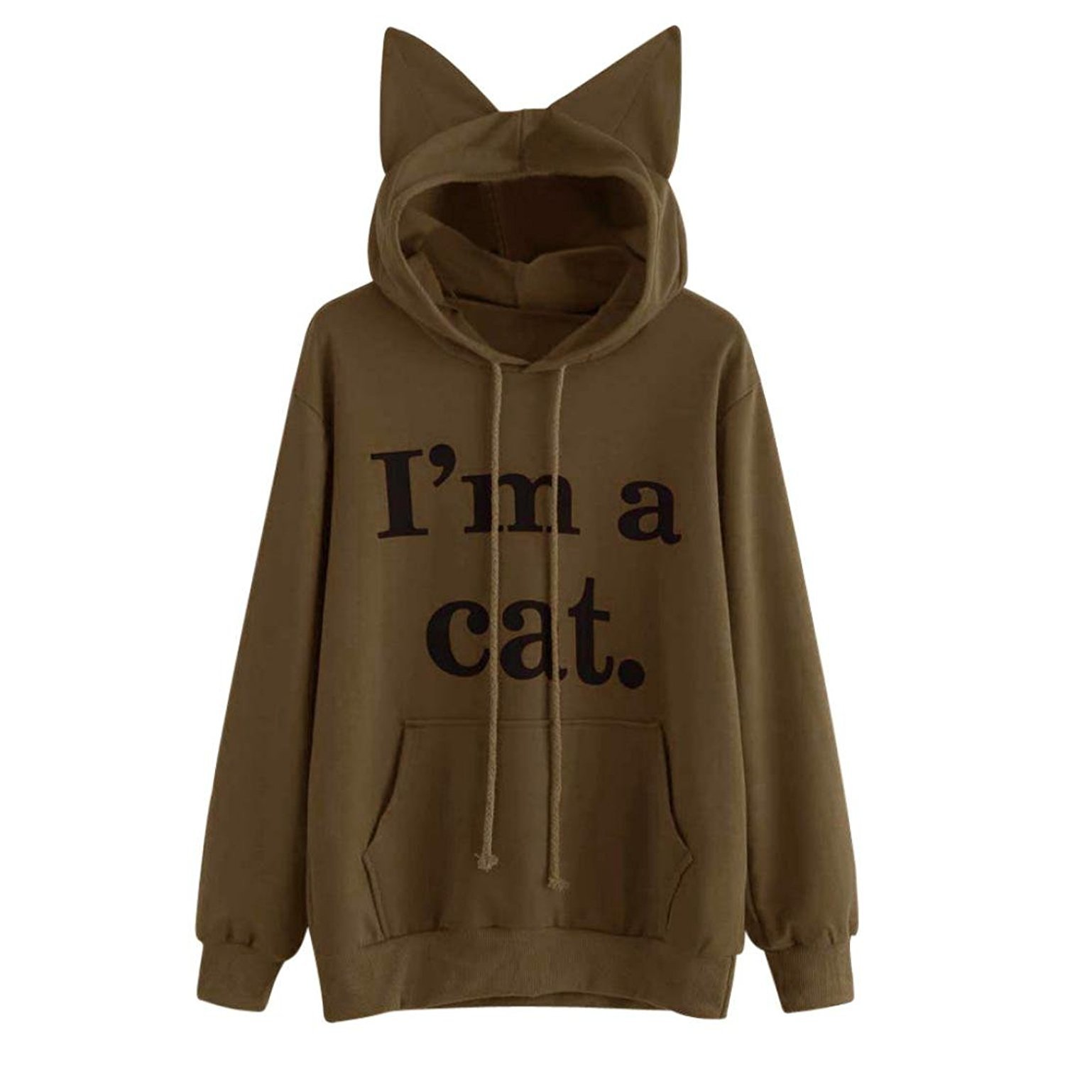 Womens Cute Hoodie Jumper Sweatshirt Mingfa Autumn Winter Letter Printed I Am a Cat Pullover Tops Blouse