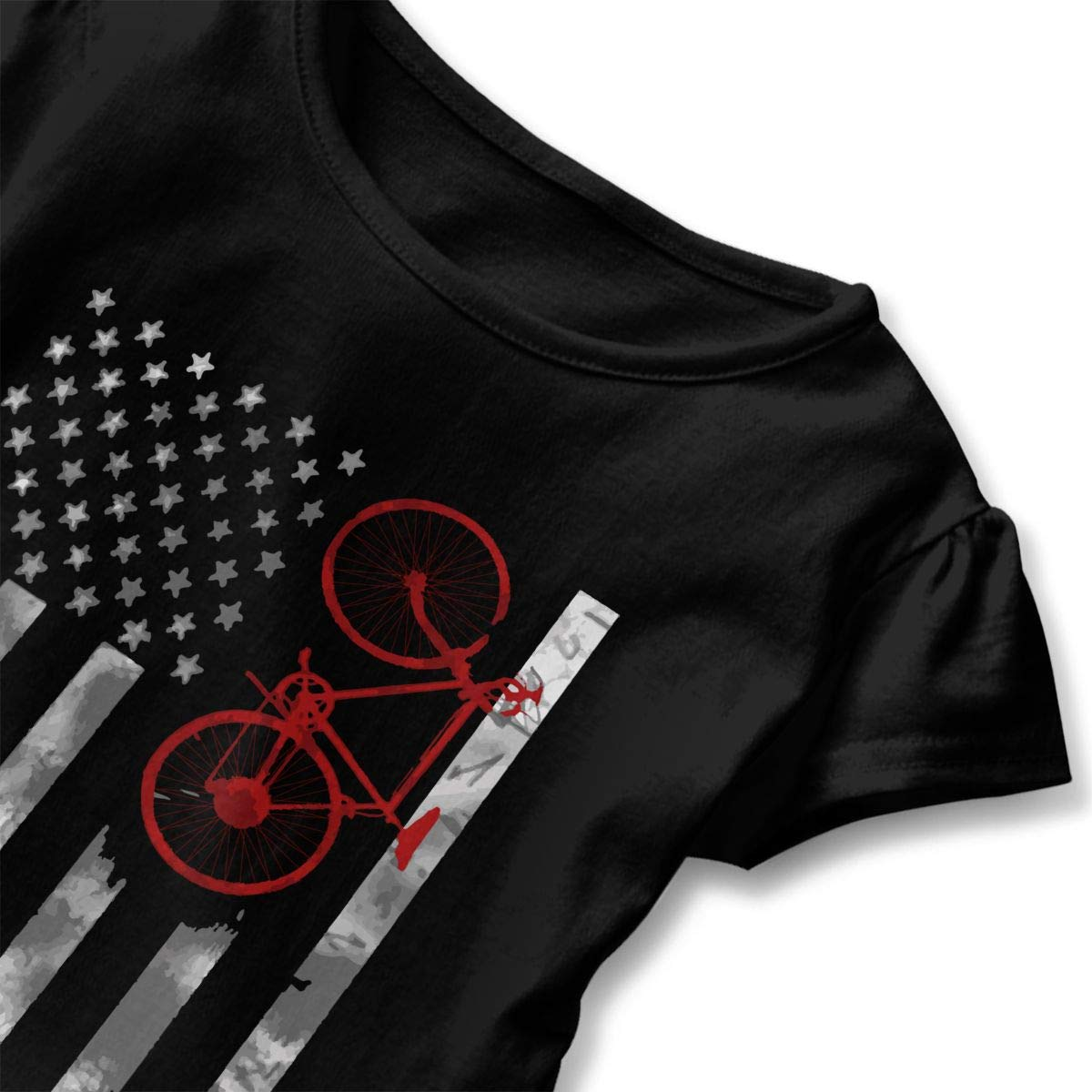 Bicycle Flag Toddler//Infant Girls Short Sleeve Shirts Ruffles Shirt Tee Jersey for 2-6T