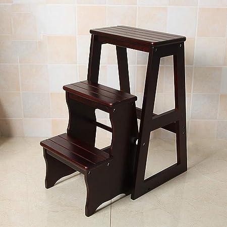 Zfggd Taburete Plegable de Madera para Adultos Cocina para niños Escaleras pequeñas Taburetes de pie Banco portátil de Interior para jardín/Rack para Flores (Color : Black, Size : 3 Steps): Amazon.es: Hogar