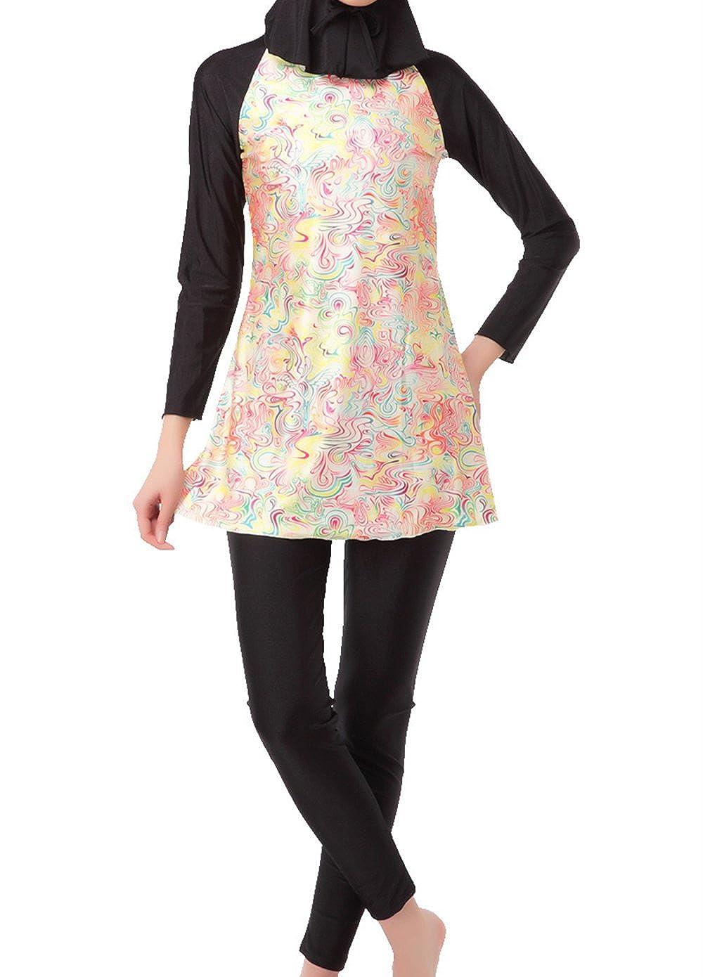 Black zhxinashu Floral Printing Islamic Clothing with Hijab(Three Piece)