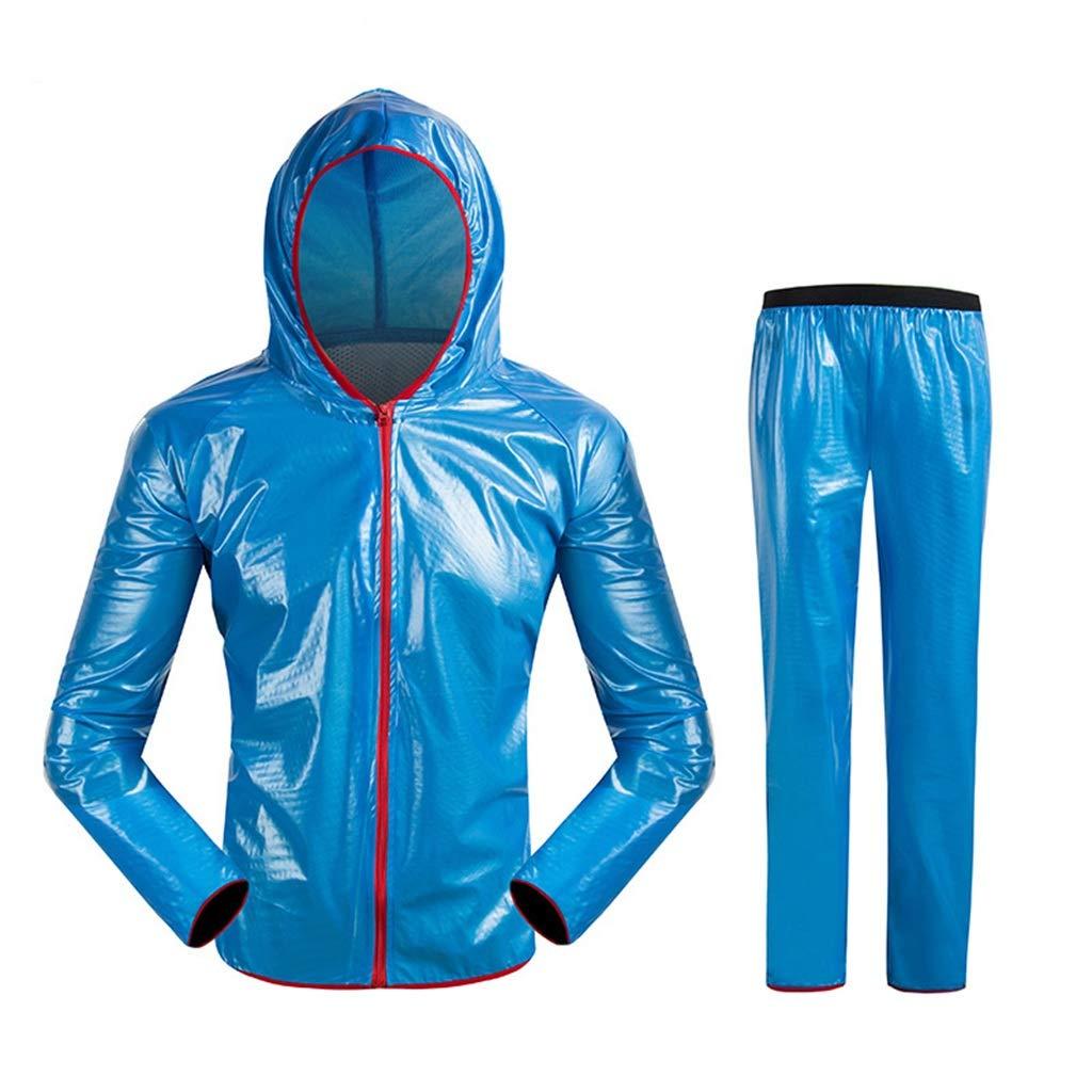 男性と女性の反射フード付きレインコートスーツ防風防水キャンプハイキング乗馬防水ジャケットセット(サイズ:S/M/L/XL / 2 XL / 3 XL) (色 : A, サイズ さいず : M m) B07S3HWDWZ A M m
