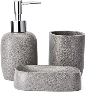 JYXR HOME&LIVING Bathroom Accessory Sets, 3 Pieces Sandstone Look Bath Accessories Set with Lotion Dispenser, Soap Dish and Tumbler for Bathroom Decor (Black)