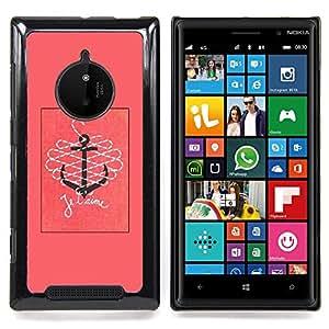 GIFT CHOICE / Teléfono Estuche protector Duro Cáscara Funda Cubierta Caso / Hard Case for Nokia Lumia 830 // T'Aime I Love You Pink Text Anchor //