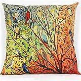 Winhurn Tree Flower Pattern Cotton Pillowcase Cover for Sofa Home Decor