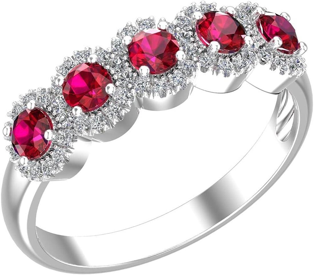 Belinda Jewelz 925 Sterling Silver Five Gemstone Cubic Zirconia Band Womens Ring