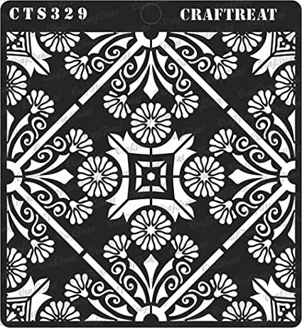| Reusable Painting Template for Home Decor Wall CrafTreat Stencil Ornate Background 4 pcs DIY Albums and Printing on Paper Crafting Flower Burst /& Floral Tile Fabric 6X6 Tuberose Doily