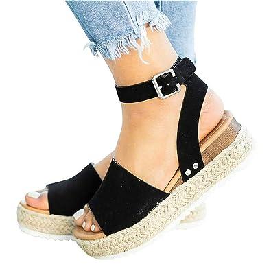 a5d52a0d87 Mafulus Womens Espadrilles Platform Sandals Wedge Ankle Strap Studded Open  Toe Summer Sandals Black