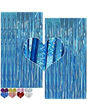 PAYOO Foil Curtain Backdrop Purple 2 Packs 3ftx7ft Laser Party Backdrop Curtain,CYLMFC Rain Foil Fringe Curtains for Birthday Party Decorations Photo Booth Backdrop Christmas Halloween (BLUE)