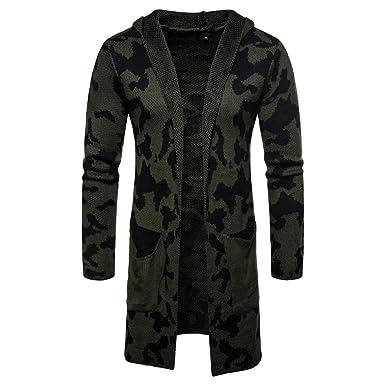 Timogee Männer Hooded Freizeit Knit Trenchcoat Jacke Strickjacke Langarm  Outwear Bluse Taschen Sport Mantel Jacke Herbst 16de9a2919