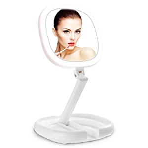 Lighted Makeup Mirror, Beautifive Vanity Mirror with Lights, Double Sided Magnifying Mirror, Brightness&Angle Adjustable, Folding Compact Mirror, LED Mirror for Travel, White Bathroom Mirror