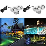 2x QACA RGB LED Underwater Lights with Remote Control 304 Stainless Steel, Surface Mount, DC 12V, Waterproof IP68 for Aquarium, Pond, Swimming Pool Decoration on Party, Wedding, Christmas, Halloween