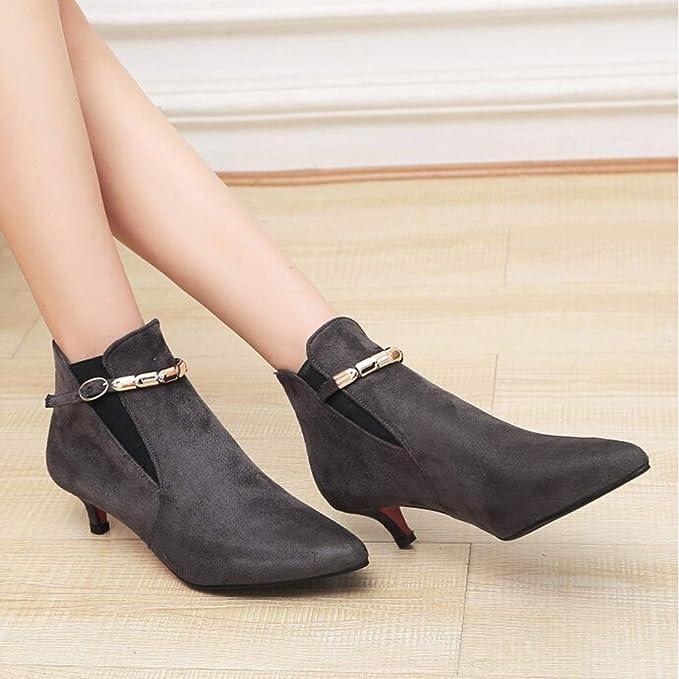Zapatillas, BaZhaHei, Botines de tacón bajo de cadena de metal con punta de metal para niños del único Zapatos de gamuza puntiagudos de ante para mujer ...