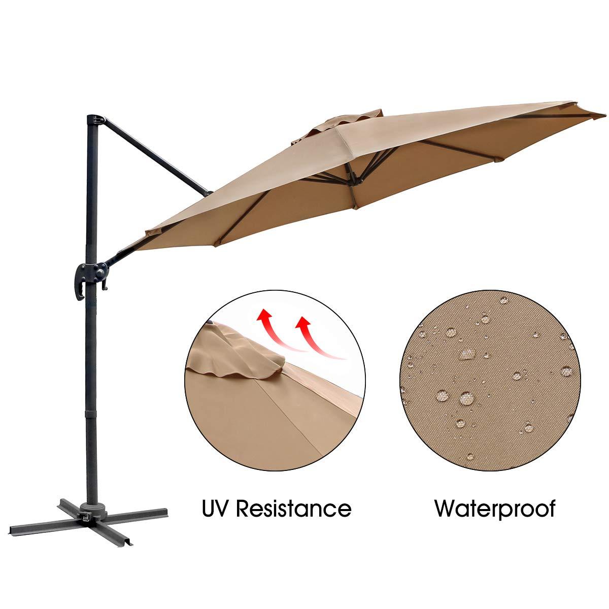 AECOJOY 10ft Cantilever Outdoor Offset Umbrella Patio Umbrella 360 Degree Rotation, Beige