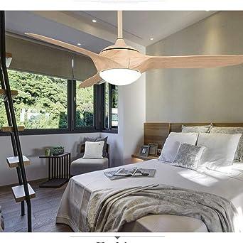 Nórdico retro ventilador de techo luz lámpara de madera simple ...