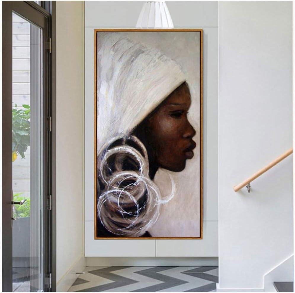 Retrato africano pintado a mano Pinturas al óleo negro blanco África mujer cara Pinturas sobre lienzo arte Imagen de la pared decoración del hogar -50x100cm Sin marco