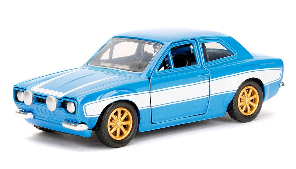 Jada Toys Fast Furious Movie 1970 Brian's Ford Escort Blue with White Stripes 1 32 Diecast Model Car