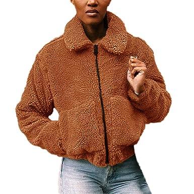 Mantel Damen REALIKE Frau Elegant Revers Parka Fleecemantel Einfarbig Reißverschluss Tasche Teddy Fleece Kurzjacke Herbst Winter Strickfleecejacke