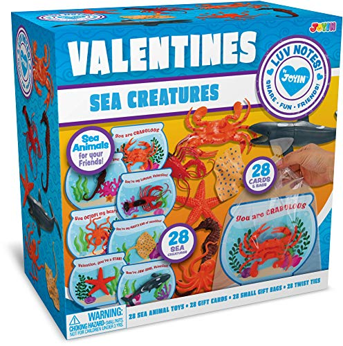 Purchase JOYIN 28 Pcs Valentines Day Gift Cards with Funny Sea Animal Toys for Kids Valentine Classr...