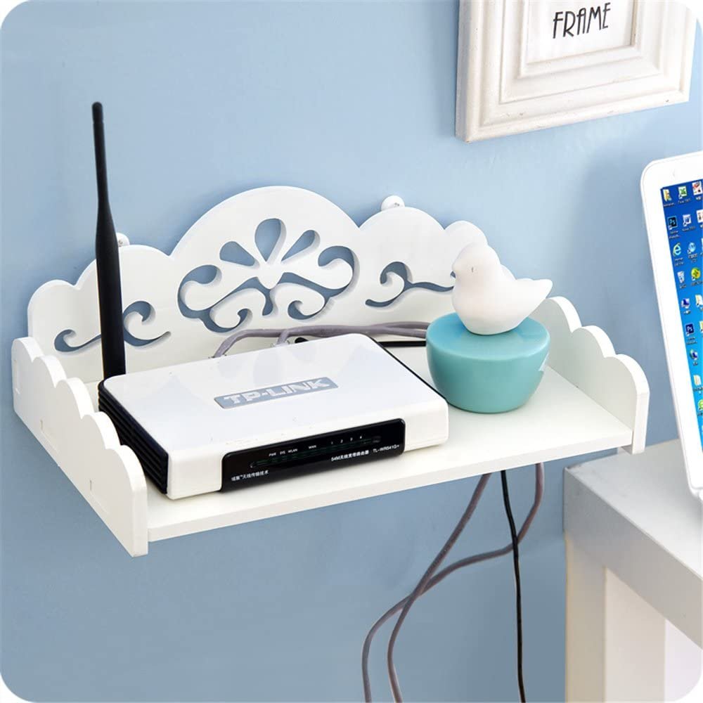 ShouYu Wandhalterung WiFi-Router Ablage Rack Set-top-Box H/ängeregal Wandregal Kabel Box Schweberegal Wei/ß,22*16*8.5cm
