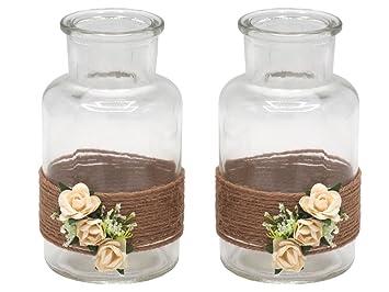 Zauberdeko 2 Vasen Hochzeit Vintage Tischdeko Deko Glaser Creme