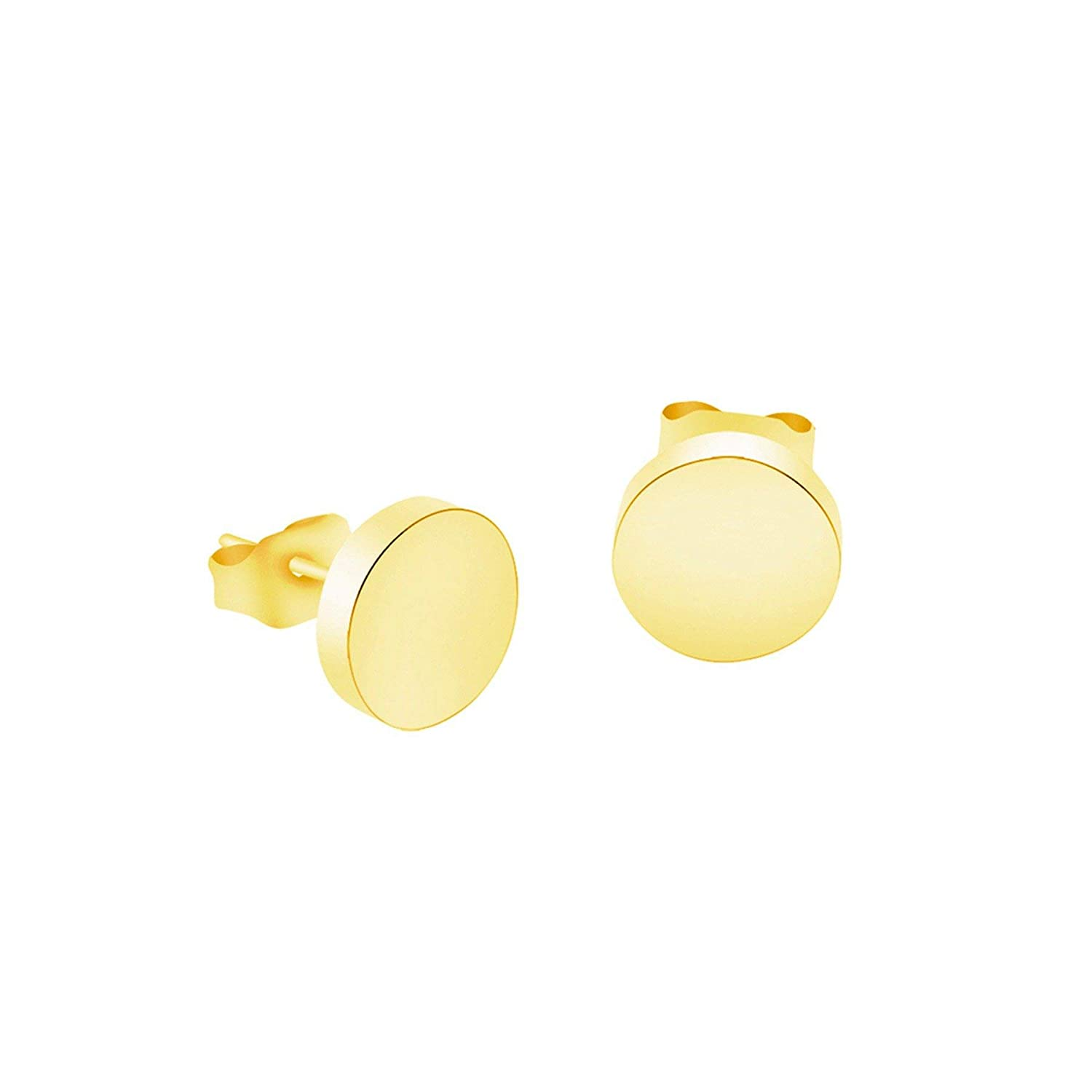 Gold Silver Color Round Circle Stud Earrings For Women Girls Stainless Steel Disc Geometric Earring Birthday Jewelry Gift,Gold Color